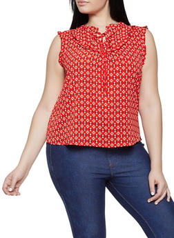 Plus Size Printed Crepe Knit Top - 1812054219796