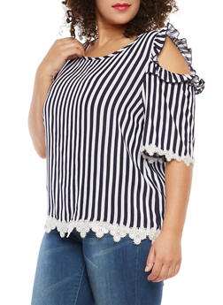 Plus Size Striped Cold Shoulder Top with Crochet Trim - 1812054260352