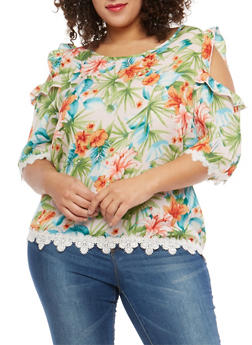Plus Size Floral Ruffled Cold Shoulder Top - 1812054262351