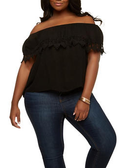 Plus Size Crochet Trim Off the Shoulder Top - 1812054268444