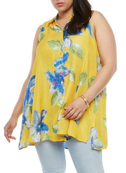 Plus Size Floral Button Front Top - 1812056122469