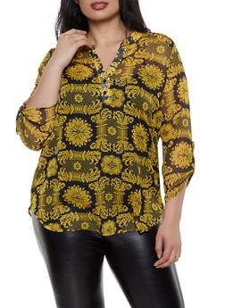 Plus Size Sheer Printed Blouse - 1812061357427