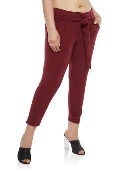 Plus Size Belted Dress Pants - 1816056571212