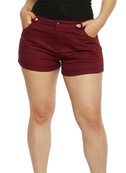 Plus Size Stretch Twill Shorts - 1820054265603