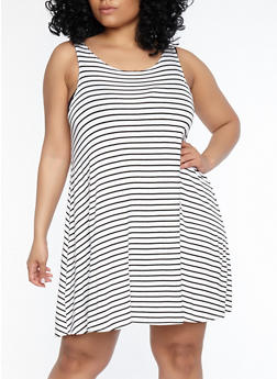 Plus Size Striped Tank Dress - 1822020625561