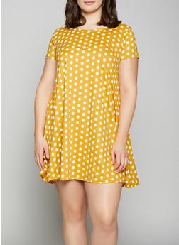 Plus Size Polka Dot Shift Dress - 1822029891005