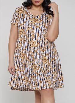 Plus Size Printed Soft Knit Dress - 1822029891007