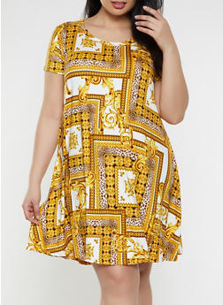 Plus Size Box Print Trapeze Dress - Multi - Size 3X - 1822029891084