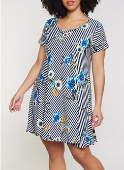Plus Size Diagonal Striped Floral Shift Dress - 1822029891085