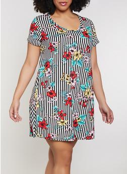 Plus Size Vertical Stripe Trapeze Dress - 1822029891086