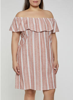 Plus Size Striped Off the Shoulder Shift Dress  | 1822051064029 - 1822051064029