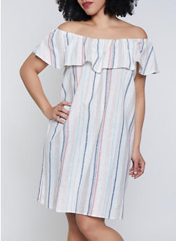 Plus Size Striped Off the Shoulder Shift Dress  | 1822051064029 - 1822051064029