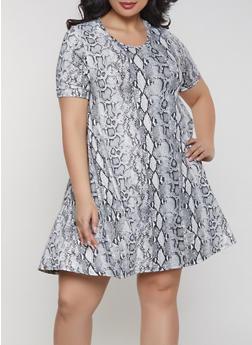 Plus Size Snake Print Dress - 1822063401804