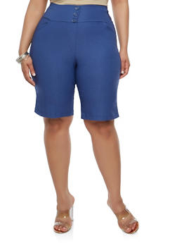Plus Size Black Bermuda Shorts - 1825020626324
