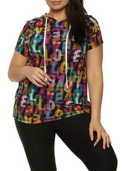 Plus Size Printed Short Sleeve Hooded Top - 1850001442203