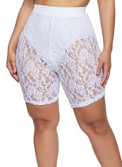 Plus Size Pull On Lace Bike Shorts - 1850038341700
