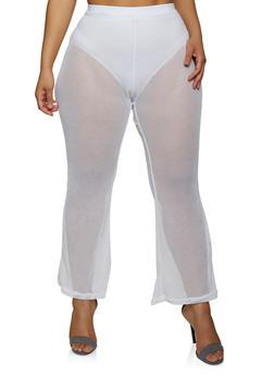Plus Size Fishnet Flared Pants - 1850038341701