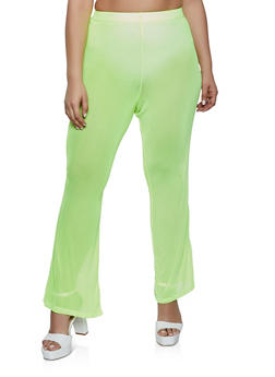 Plus Size Flared Mesh Pants - 1850038341704