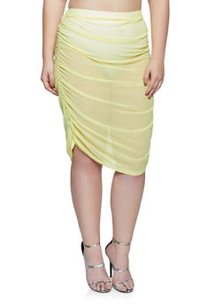 Plus Size Ruched Mesh Pencil Skirt - LIME - 1850038341705