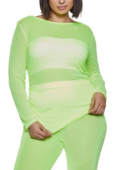 Plus Size Ruched Long Sleeve Mesh Top - 1850038344070