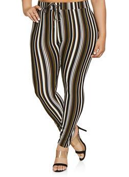 Plus Size Striped Drawstring Waist Pants - 1850062120373