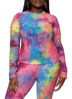 Plus Size Tie Dye Textured Knit Top - 1850062121002