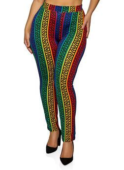 Plus Size Multi Color Geometric Print Leggings - 1850062121035