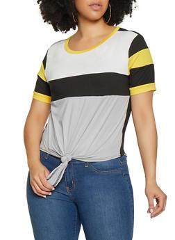 Plus Size Tie Front Color Block Tee - 1850062121088