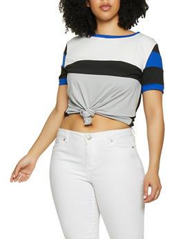 1ede2f1dc6770 Plus Size Tie Front Color Block Tee - 1850062121088