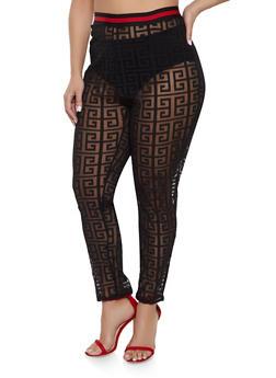 Plus Size Shadow Print Mesh Pants - 1850062121331