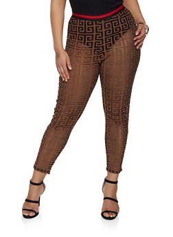 Plus Size Shadow Print Mesh Pants - 1850062121331