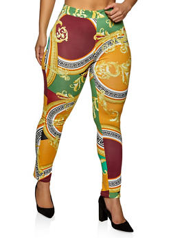 Plus Size Baroque Print Soft Knit Leggings - 1850062121335