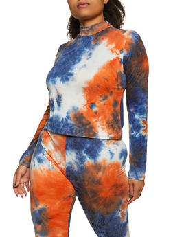 Plus Size Tie Dye Mock Neck Top - 1850062121352