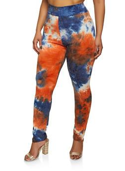 Plus Size Tie Dye Leggings   1850062121353 - 1850062121353
