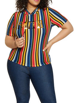 Plus Size Faith Foil Graphic Striped Tee - 1850062121437