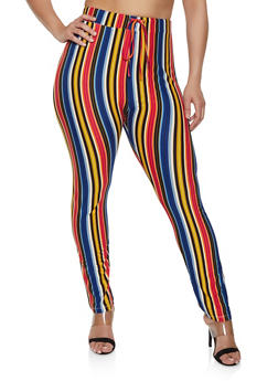 Plus Size Striped Casual Skinny Pants - 1850062121438