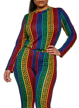 Plus Size Multi Color Geometric Print Mock Neck Top - 1850062122035