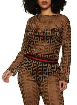 Plus Size Long Sleeve Geometric Print Mesh Top - 1850062122330