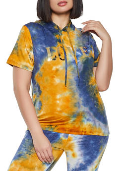 Plus Size Love Tie Dye Hooded Top - 1850062122437