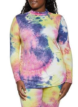 Plus Size Tie Dye Mock Neck Top - 1850062122573