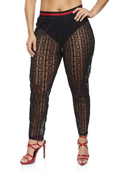 Plus Size Geometric Print Mesh Pants - 1850062123330