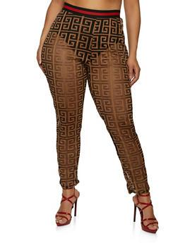 Plus Size Geometric Print Mesh Pants - 1850062123330