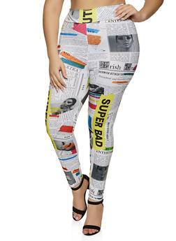 Plus Size Newspaper Print Soft Knit Leggings - 1850062123354