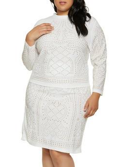 Plus Size Studded Long Sleeve Mock Neck Top - 1850062124198