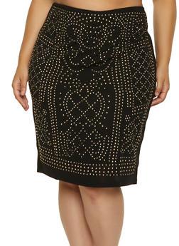 Plus Size Studded Pencil Skirt - 1850062124199