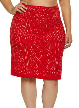 Plus Size Studded Pencil Skirt - 1850062124199