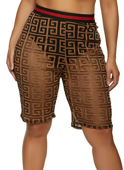 Plus Size Geometric Print Mesh Bike Shorts - 1850062124330