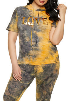 Plus Size Tie Dye Foil Graphic Top - 1850062124373