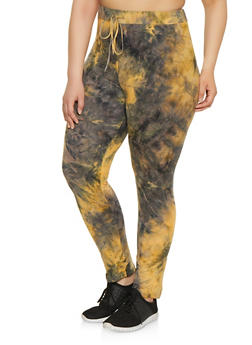 Plus Size Tie Dye Soft Knit Pants - 1850062124374