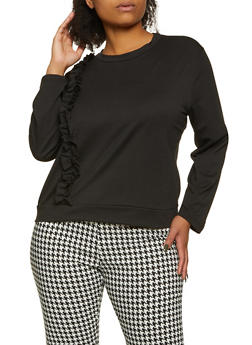 Plus Size Ruffled Long Sleeve French Terry Top - 1850062125120